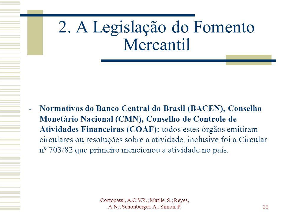 Cortopassi, A.C.V.R.; Matile, S.; Reyes, A.N.; Schonberger, A.; Simon, P.22 2. A Legislação do Fomento Mercantil -Normativos do Banco Central do Brasi