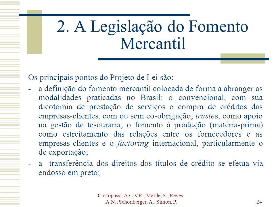 Cortopassi, A.C.V.R.; Matile, S.; Reyes, A.N.; Schonberger, A.; Simon, P.24 2. A Legislação do Fomento Mercantil Os principais pontos do Projeto de Le