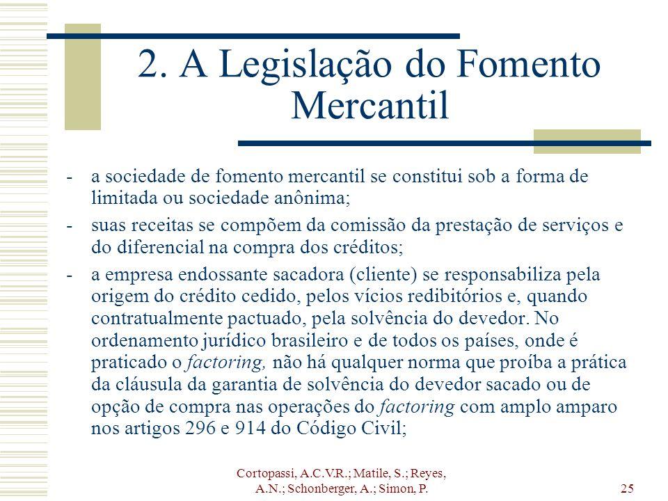 Cortopassi, A.C.V.R.; Matile, S.; Reyes, A.N.; Schonberger, A.; Simon, P.25 2. A Legislação do Fomento Mercantil -a sociedade de fomento mercantil se
