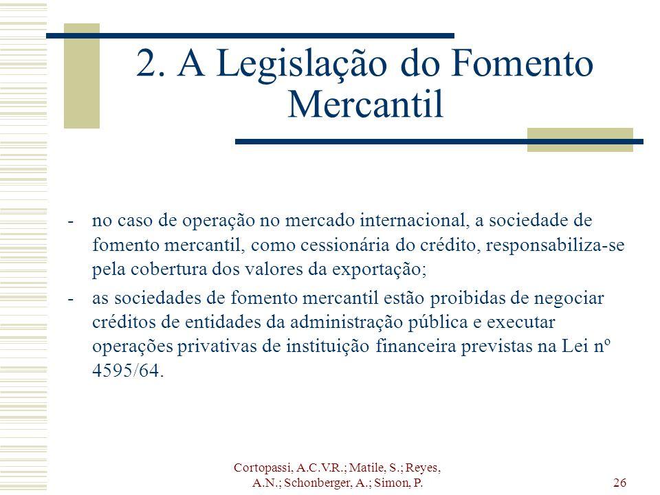 Cortopassi, A.C.V.R.; Matile, S.; Reyes, A.N.; Schonberger, A.; Simon, P.26 2. A Legislação do Fomento Mercantil -no caso de operação no mercado inter