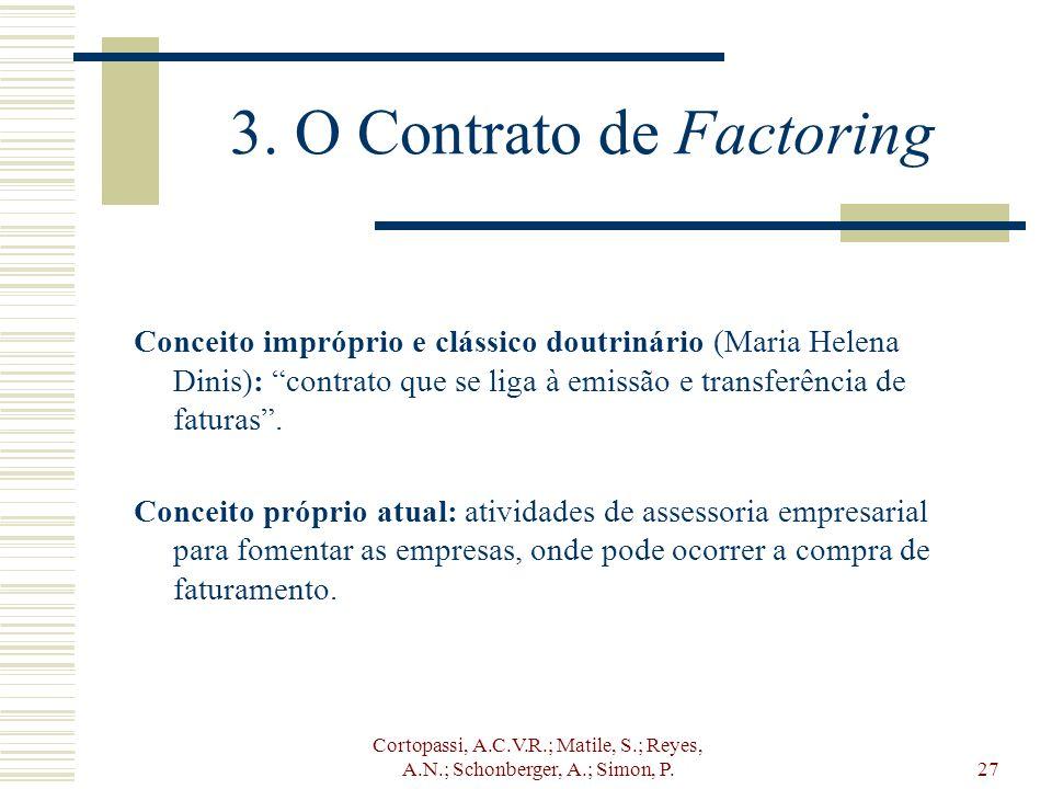 Cortopassi, A.C.V.R.; Matile, S.; Reyes, A.N.; Schonberger, A.; Simon, P.27 3. O Contrato de Factoring Conceito impróprio e clássico doutrinário (Mari