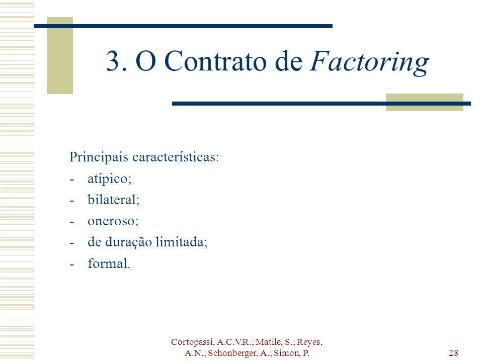 Cortopassi, A.C.V.R.; Matile, S.; Reyes, A.N.; Schonberger, A.; Simon, P.28 3. O Contrato de Factoring Principais características: -atípico; -bilatera