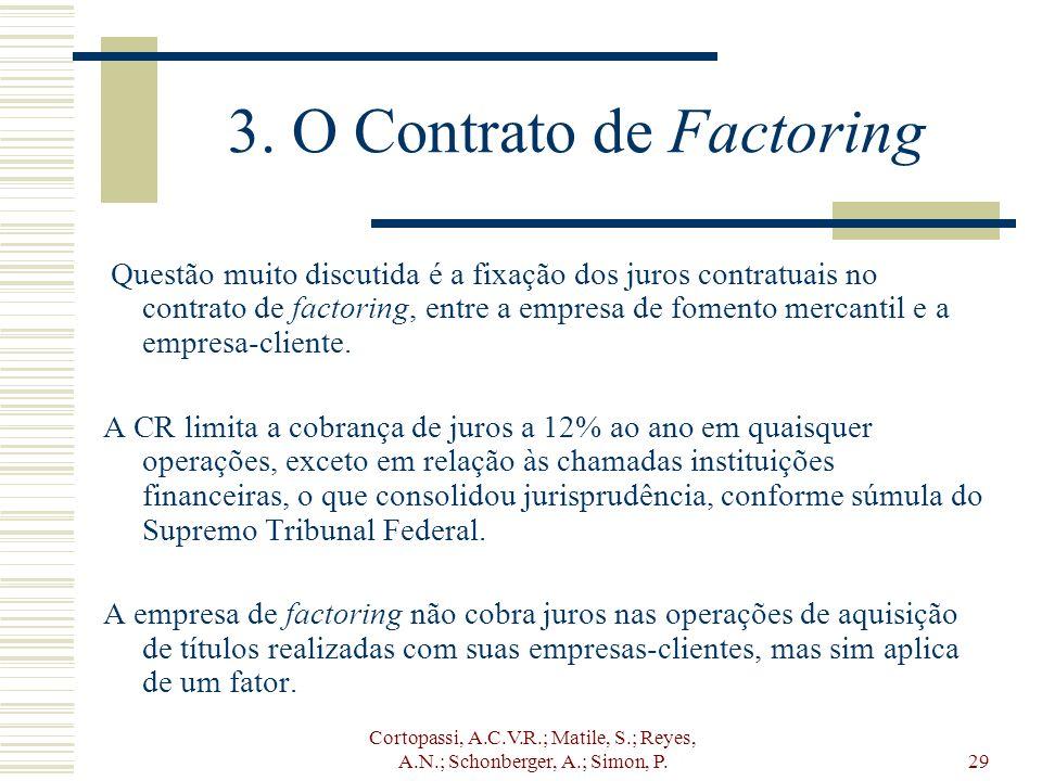 Cortopassi, A.C.V.R.; Matile, S.; Reyes, A.N.; Schonberger, A.; Simon, P.29 3. O Contrato de Factoring Questão muito discutida é a fixação dos juros c