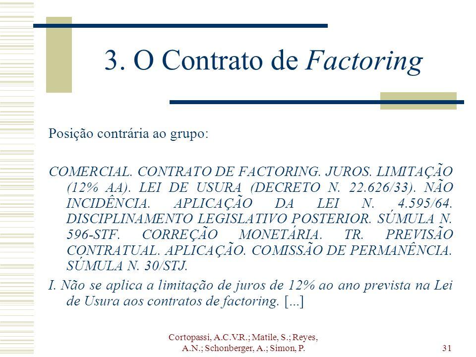 Cortopassi, A.C.V.R.; Matile, S.; Reyes, A.N.; Schonberger, A.; Simon, P.31 3. O Contrato de Factoring Posição contrária ao grupo: COMERCIAL. CONTRATO