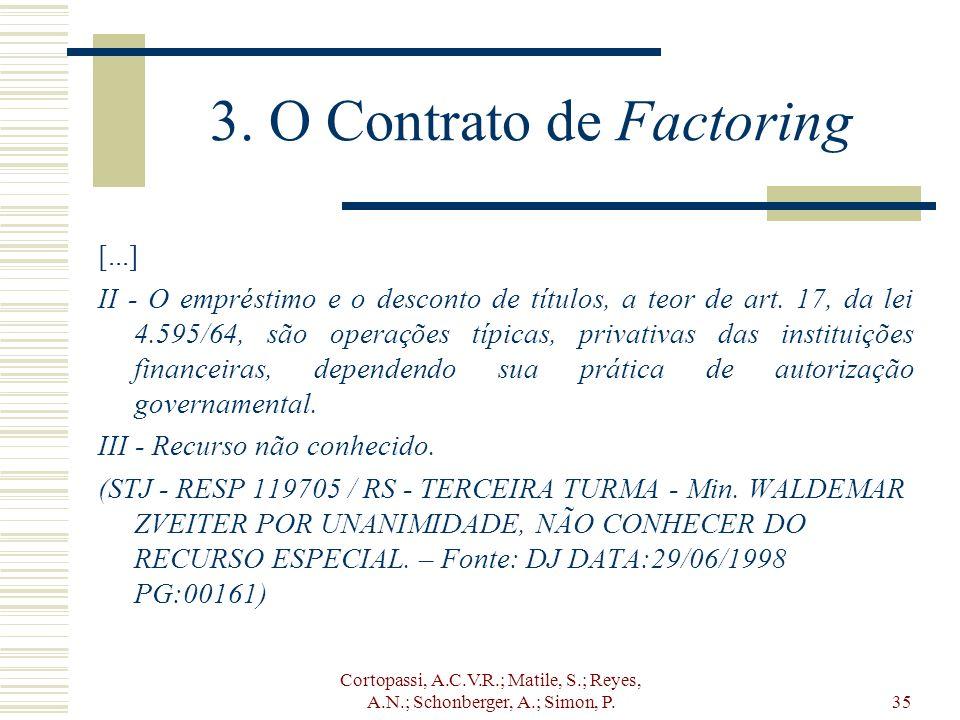 Cortopassi, A.C.V.R.; Matile, S.; Reyes, A.N.; Schonberger, A.; Simon, P.35 3. O Contrato de Factoring [...] II - O empréstimo e o desconto de títulos