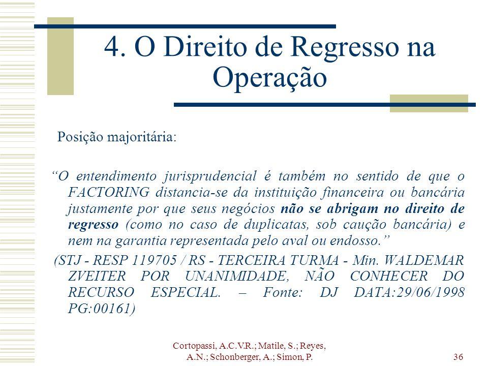 Cortopassi, A.C.V.R.; Matile, S.; Reyes, A.N.; Schonberger, A.; Simon, P.36 4. O Direito de Regresso na Operação Posição majoritária: O entendimento j