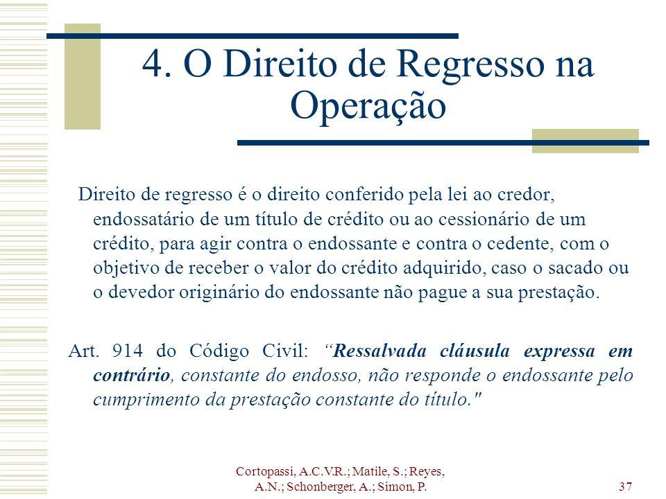 Cortopassi, A.C.V.R.; Matile, S.; Reyes, A.N.; Schonberger, A.; Simon, P.37 4. O Direito de Regresso na Operação Direito de regresso é o direito confe