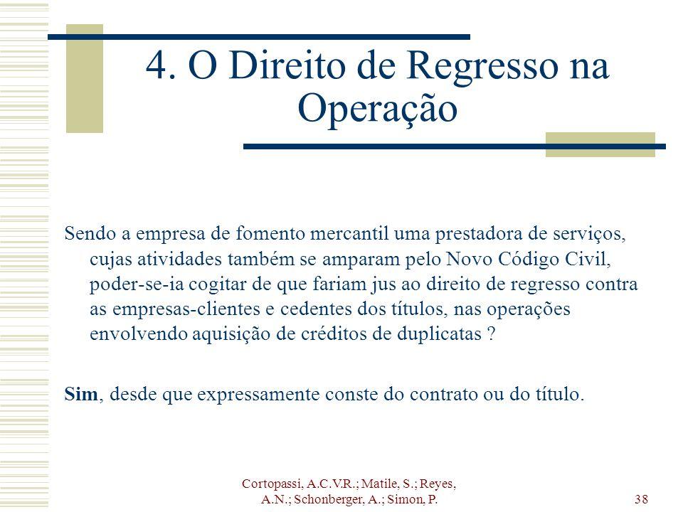 Cortopassi, A.C.V.R.; Matile, S.; Reyes, A.N.; Schonberger, A.; Simon, P.38 4. O Direito de Regresso na Operação Sendo a empresa de fomento mercantil
