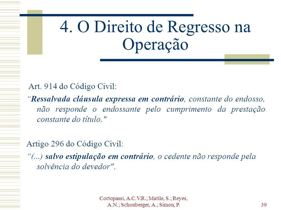 Cortopassi, A.C.V.R.; Matile, S.; Reyes, A.N.; Schonberger, A.; Simon, P.39 4. O Direito de Regresso na Operação Art. 914 do Código Civil: Ressalvada