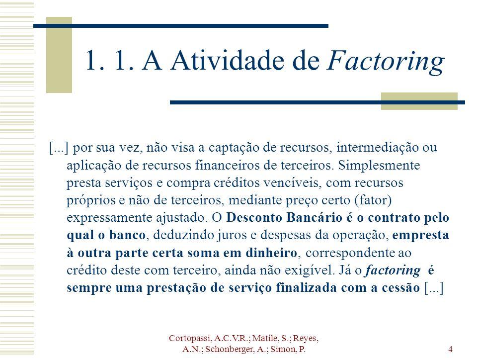 Cortopassi, A.C.V.R.; Matile, S.; Reyes, A.N.; Schonberger, A.; Simon, P.4 1. 1. A Atividade de Factoring [...] por sua vez, não visa a captação de re