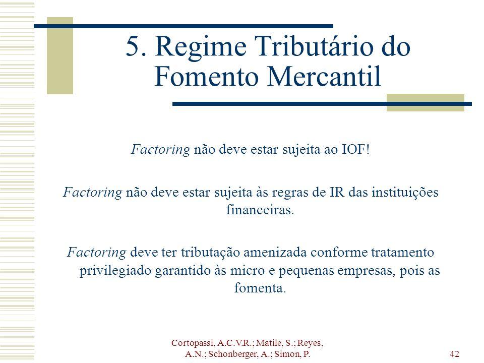 Cortopassi, A.C.V.R.; Matile, S.; Reyes, A.N.; Schonberger, A.; Simon, P.42 5. Regime Tributário do Fomento Mercantil Factoring não deve estar sujeita