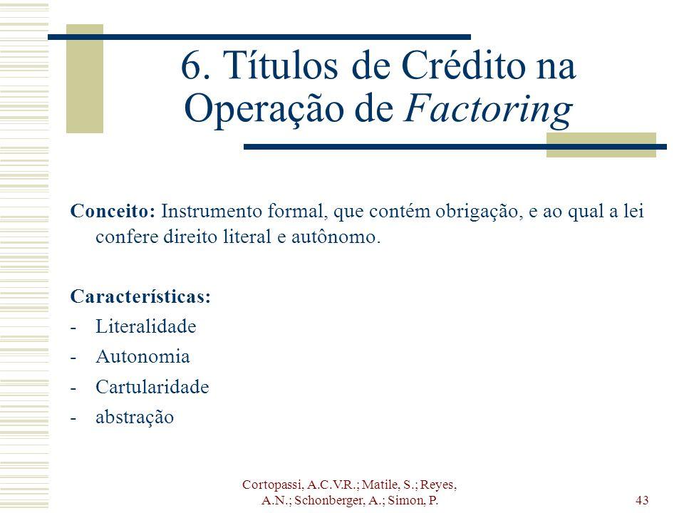 Cortopassi, A.C.V.R.; Matile, S.; Reyes, A.N.; Schonberger, A.; Simon, P.43 6. Títulos de Crédito na Operação de Factoring Conceito: Instrumento forma