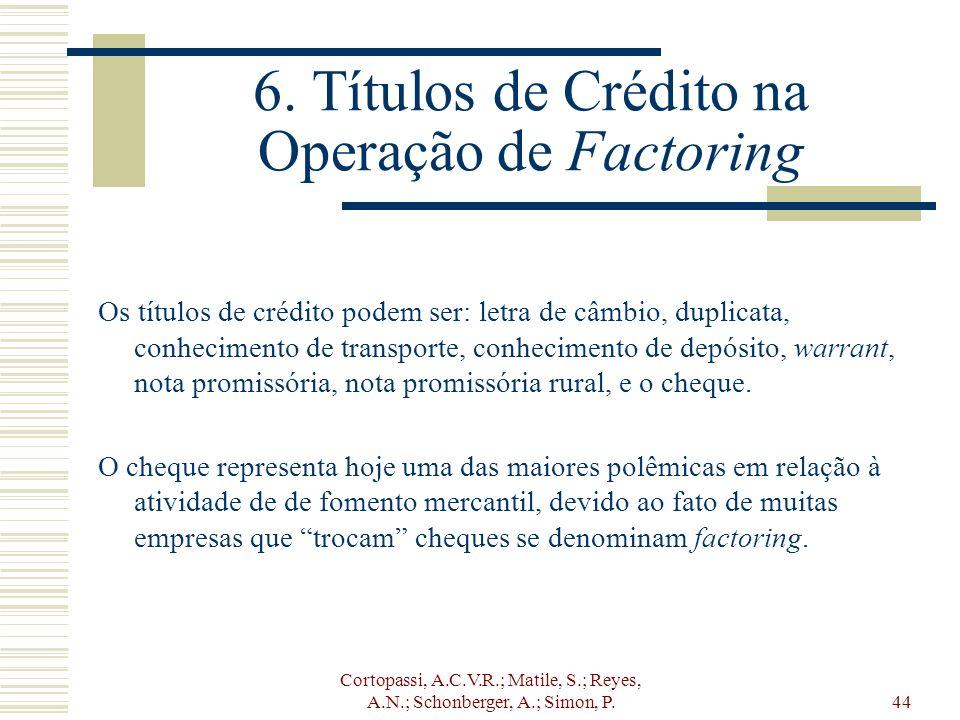 Cortopassi, A.C.V.R.; Matile, S.; Reyes, A.N.; Schonberger, A.; Simon, P.44 6. Títulos de Crédito na Operação de Factoring Os títulos de crédito podem