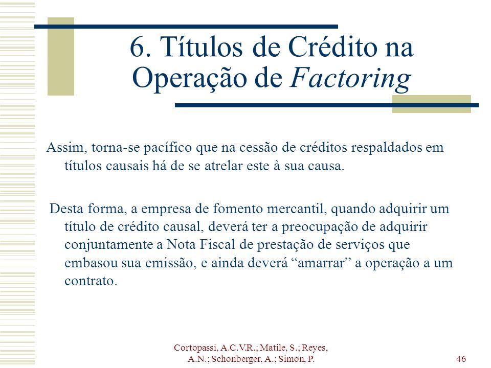 Cortopassi, A.C.V.R.; Matile, S.; Reyes, A.N.; Schonberger, A.; Simon, P.46 6. Títulos de Crédito na Operação de Factoring Assim, torna-se pacífico qu