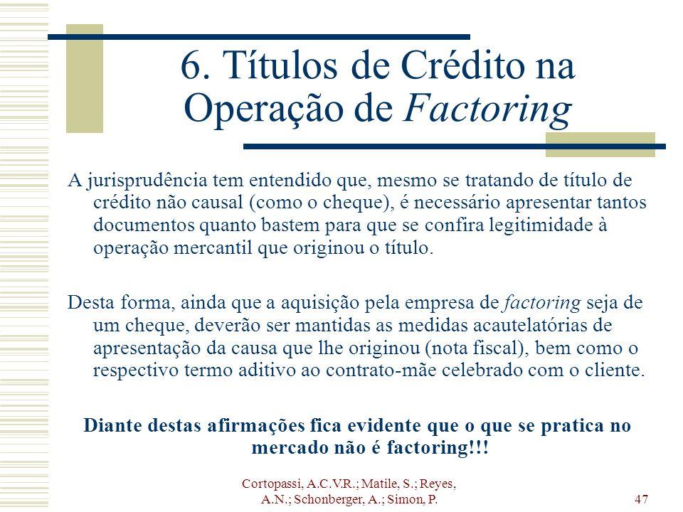 Cortopassi, A.C.V.R.; Matile, S.; Reyes, A.N.; Schonberger, A.; Simon, P.47 6. Títulos de Crédito na Operação de Factoring A jurisprudência tem entend