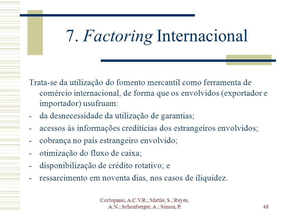 Cortopassi, A.C.V.R.; Matile, S.; Reyes, A.N.; Schonberger, A.; Simon, P.48 7. Factoring Internacional Trata-se da utilização do fomento mercantil com