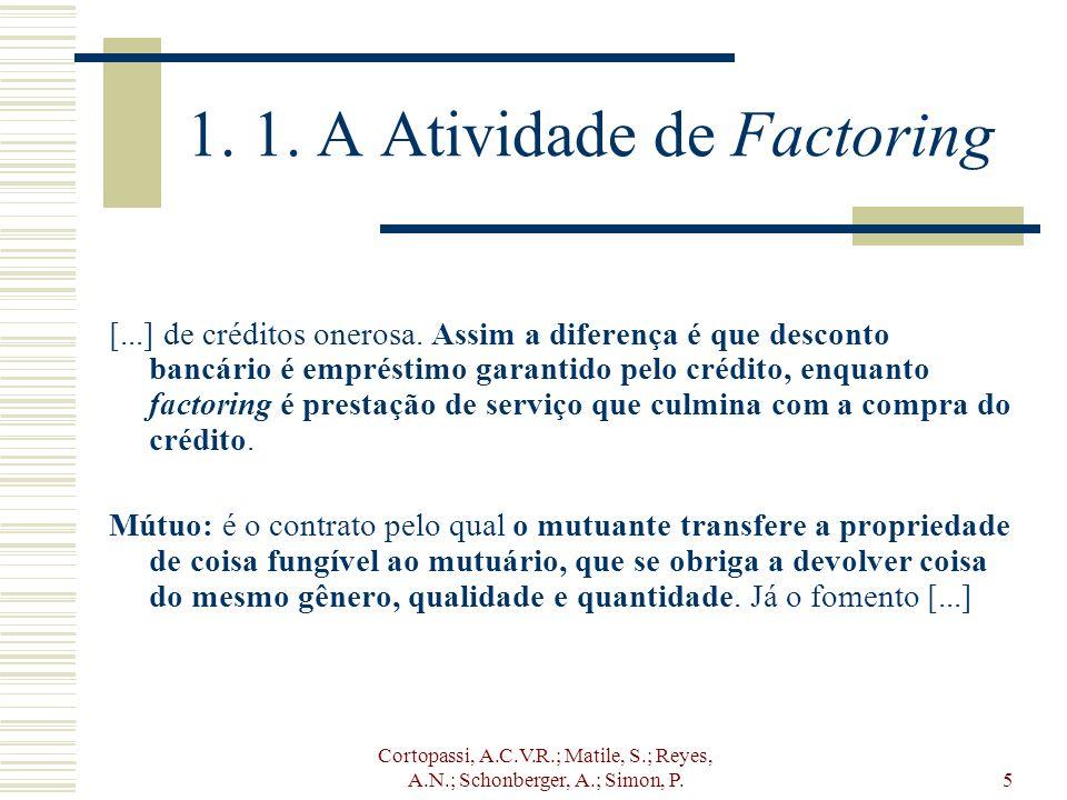 Cortopassi, A.C.V.R.; Matile, S.; Reyes, A.N.; Schonberger, A.; Simon, P.5 1. 1. A Atividade de Factoring [...] de créditos onerosa. Assim a diferença