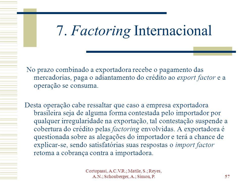 Cortopassi, A.C.V.R.; Matile, S.; Reyes, A.N.; Schonberger, A.; Simon, P.57 7. Factoring Internacional No prazo combinado a exportadora recebe o pagam