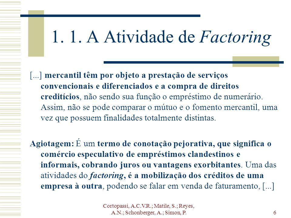 Cortopassi, A.C.V.R.; Matile, S.; Reyes, A.N.; Schonberger, A.; Simon, P.6 1. 1. A Atividade de Factoring [...] mercantil têm por objeto a prestação d