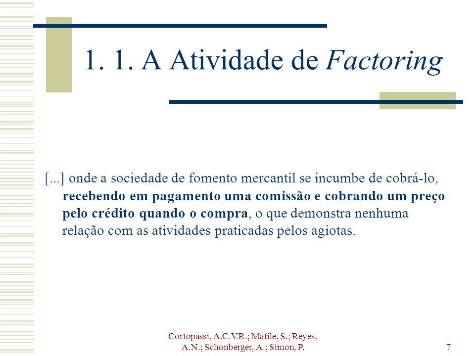 Cortopassi, A.C.V.R.; Matile, S.; Reyes, A.N.; Schonberger, A.; Simon, P.7 1. 1. A Atividade de Factoring [...] onde a sociedade de fomento mercantil