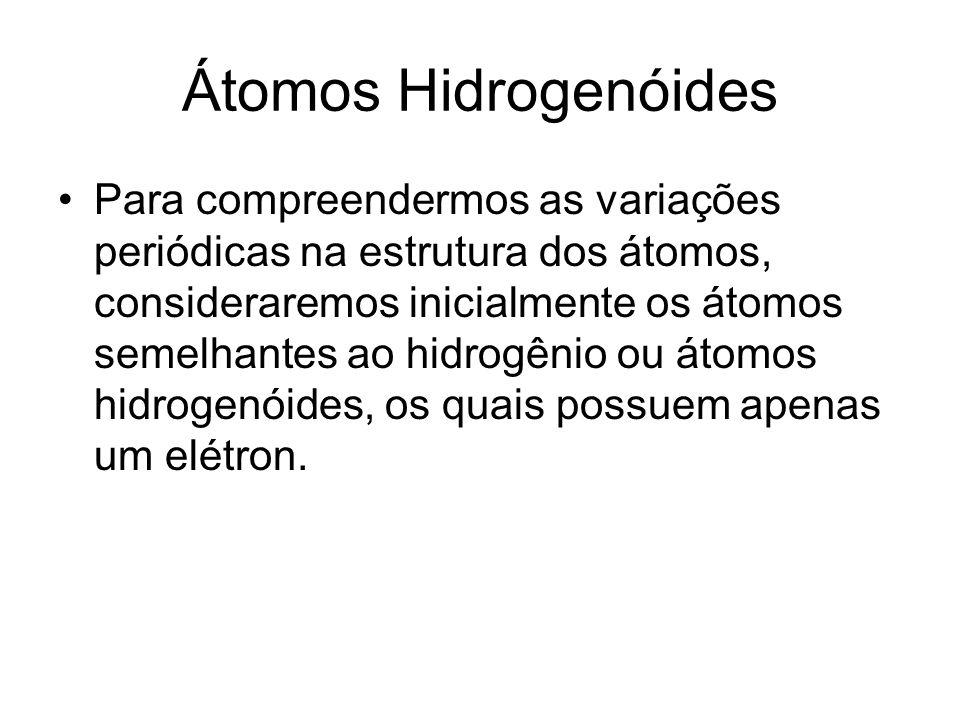 Átomos Hidrogenóides Para compreendermos as variações periódicas na estrutura dos átomos, consideraremos inicialmente os átomos semelhantes ao hidrogênio ou átomos hidrogenóides, os quais possuem apenas um elétron.