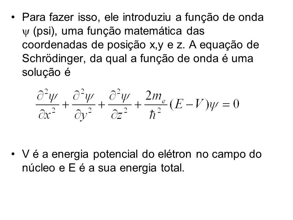 Para fazer isso, ele introduziu a função de onda (psi), uma função matemática das coordenadas de posição x,y e z. A equação de Schrödinger, da qual a