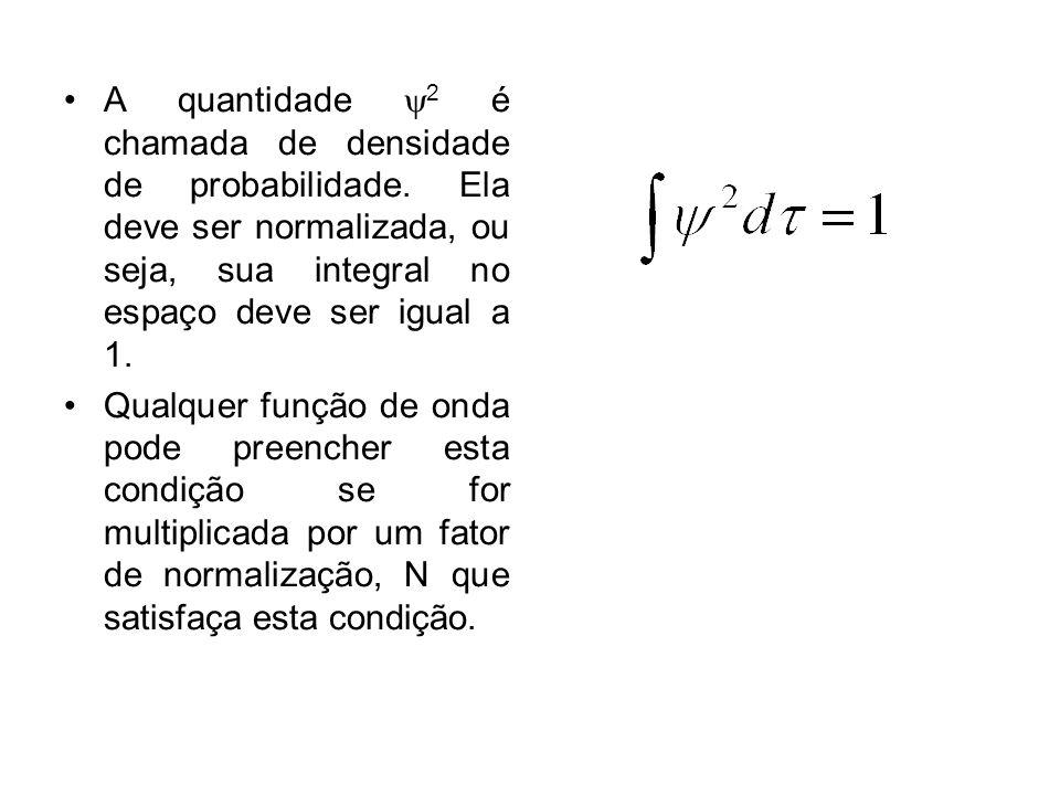 A quantidade 2 é chamada de densidade de probabilidade. Ela deve ser normalizada, ou seja, sua integral no espaço deve ser igual a 1. Qualquer função