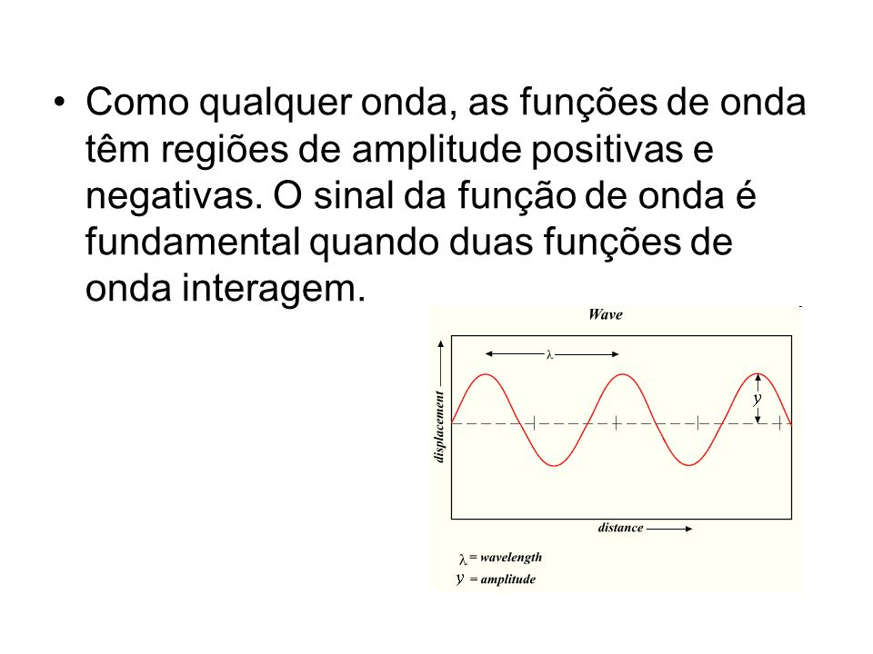 Como qualquer onda, as funções de onda têm regiões de amplitude positivas e negativas. O sinal da função de onda é fundamental quando duas funções de