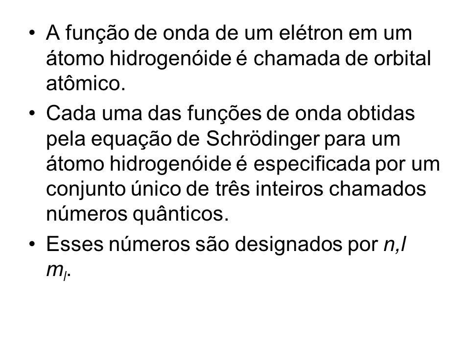 A função de onda de um elétron em um átomo hidrogenóide é chamada de orbital atômico. Cada uma das funções de onda obtidas pela equação de Schrödinger