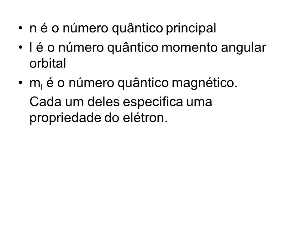 n é o número quântico principal l é o número quântico momento angular orbital m l é o número quântico magnético. Cada um deles especifica uma propried
