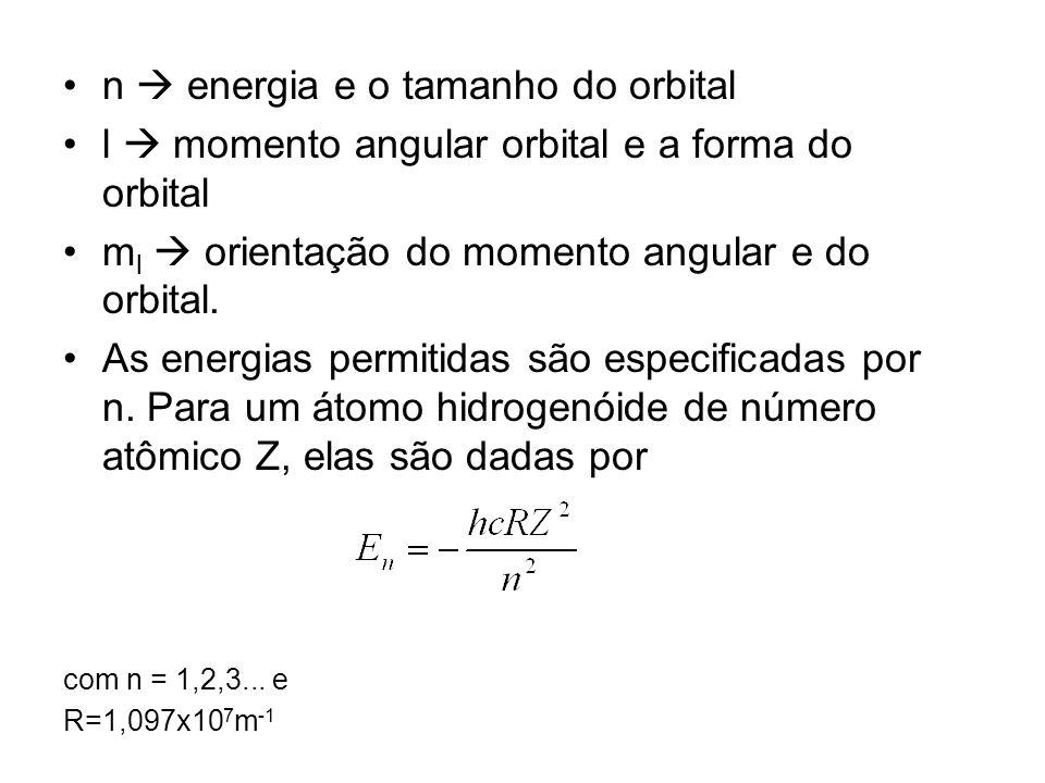 n energia e o tamanho do orbital l momento angular orbital e a forma do orbital m l orientação do momento angular e do orbital. As energias permitidas