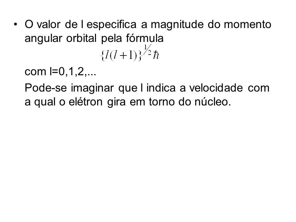 O valor de l especifica a magnitude do momento angular orbital pela fórmula com l=0,1,2,...