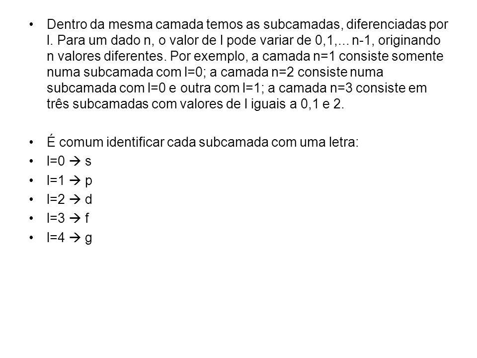Dentro da mesma camada temos as subcamadas, diferenciadas por l. Para um dado n, o valor de l pode variar de 0,1,... n-1, originando n valores diferen