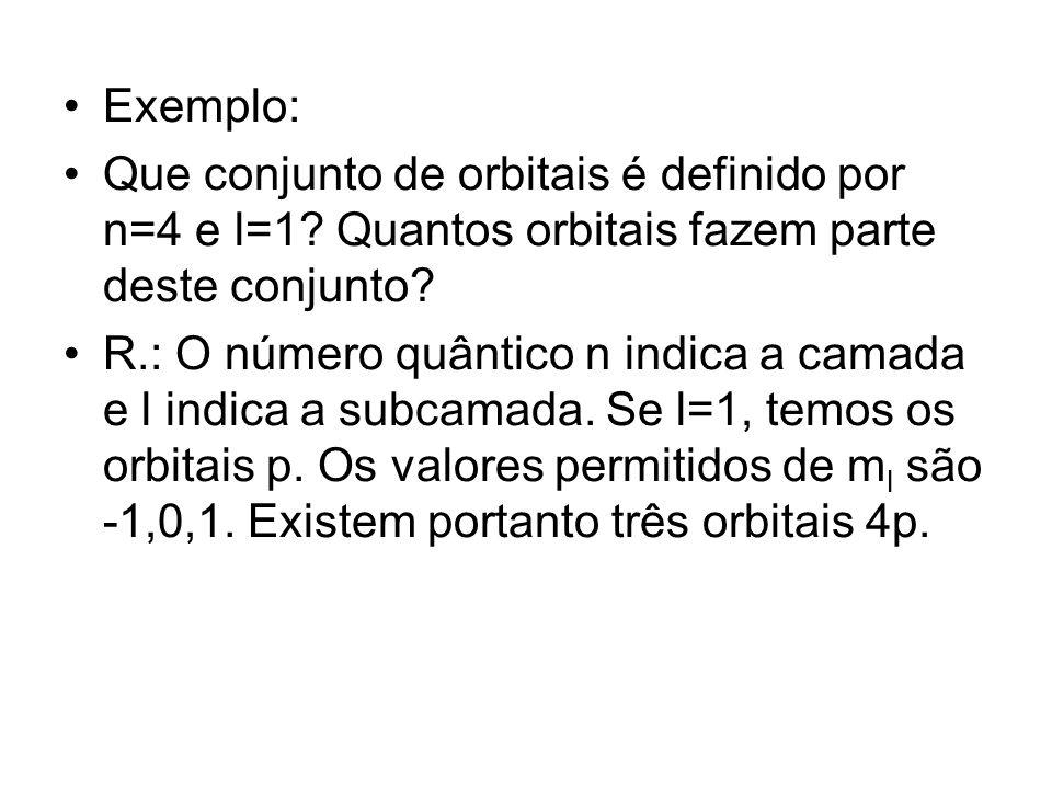 Exemplo: Que conjunto de orbitais é definido por n=4 e l=1? Quantos orbitais fazem parte deste conjunto? R.: O número quântico n indica a camada e l i