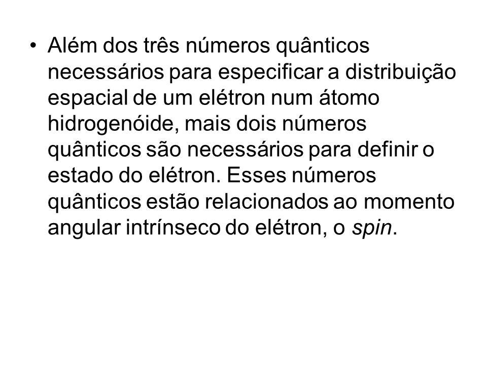 Além dos três números quânticos necessários para especificar a distribuição espacial de um elétron num átomo hidrogenóide, mais dois números quânticos são necessários para definir o estado do elétron.