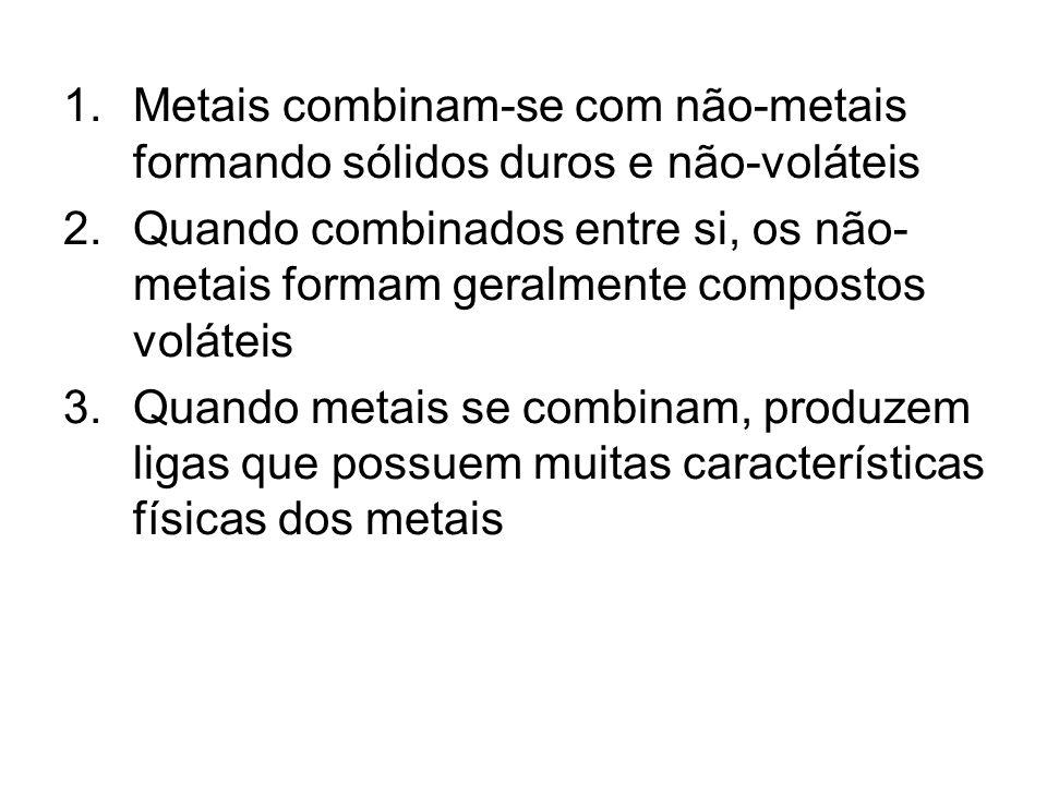 1.Metais combinam-se com não-metais formando sólidos duros e não-voláteis 2.Quando combinados entre si, os não- metais formam geralmente compostos voláteis 3.Quando metais se combinam, produzem ligas que possuem muitas características físicas dos metais