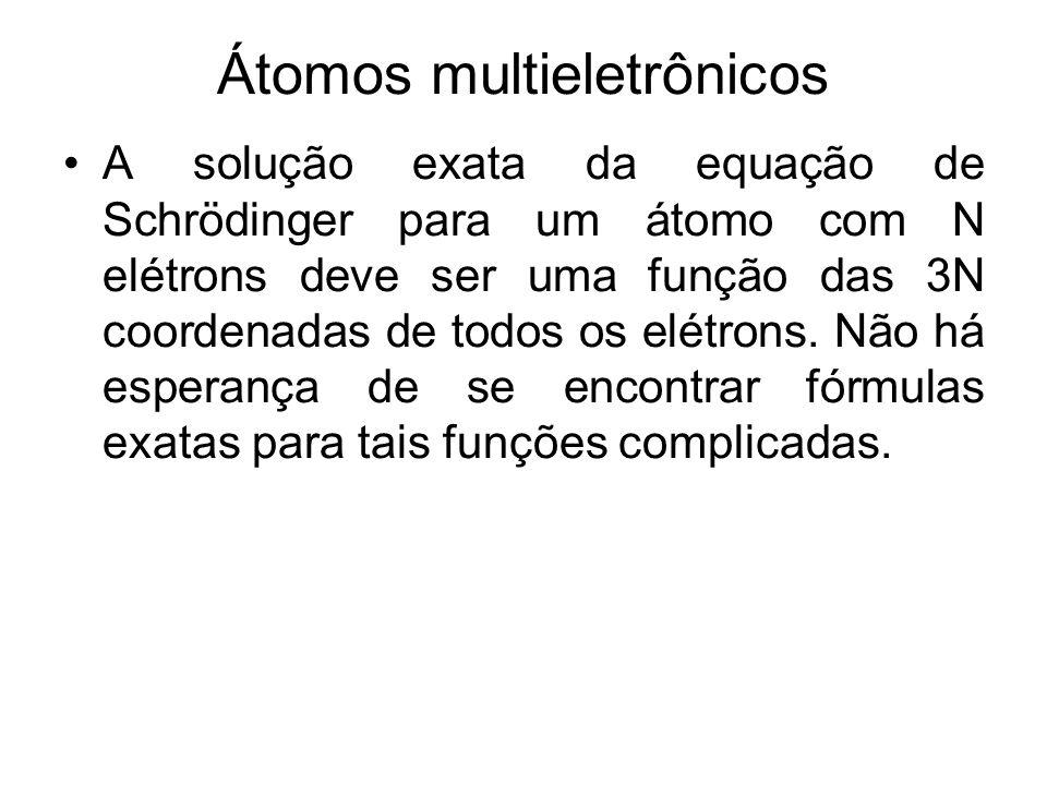 Átomos multieletrônicos A solução exata da equação de Schrödinger para um átomo com N elétrons deve ser uma função das 3N coordenadas de todos os elét