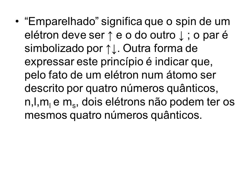 Emparelhado significa que o spin de um elétron deve ser e o do outro ; o par é simbolizado por. Outra forma de expressar este princípio é indicar que,