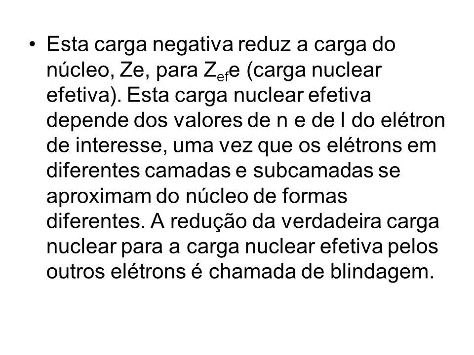 Esta carga negativa reduz a carga do núcleo, Ze, para Z ef e (carga nuclear efetiva). Esta carga nuclear efetiva depende dos valores de n e de l do el