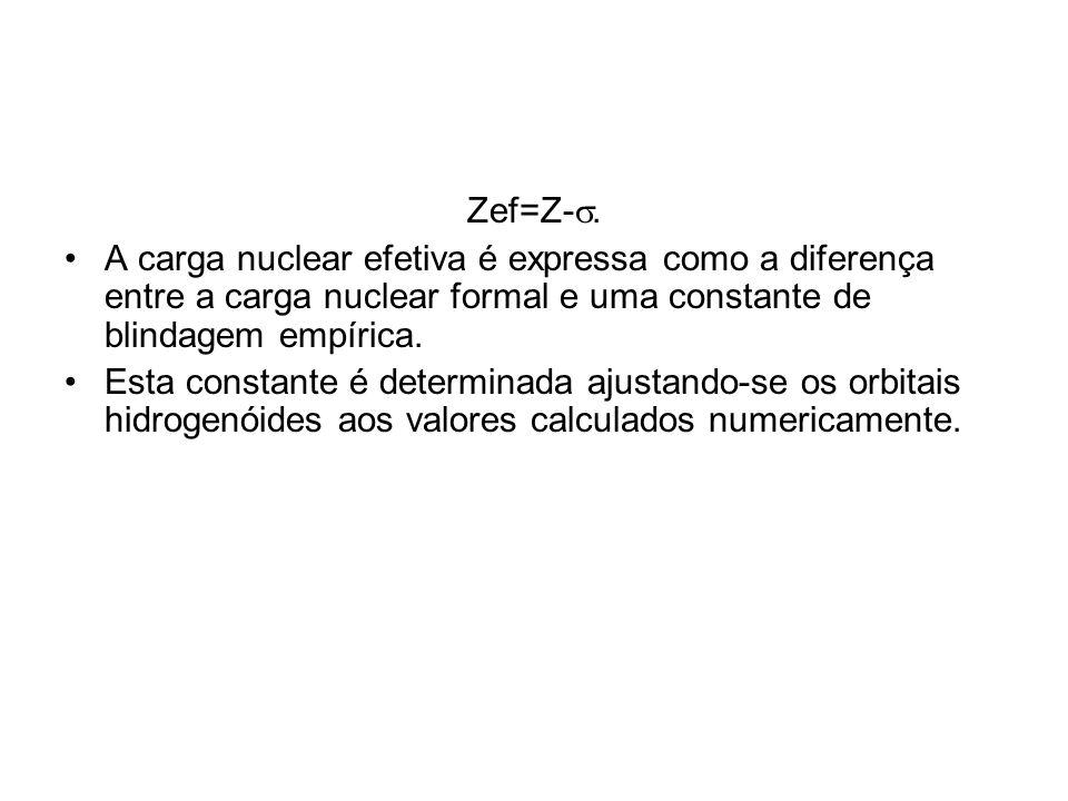 Zef=Z-. A carga nuclear efetiva é expressa como a diferença entre a carga nuclear formal e uma constante de blindagem empírica. Esta constante é deter