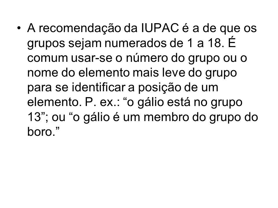 A recomendação da IUPAC é a de que os grupos sejam numerados de 1 a 18.