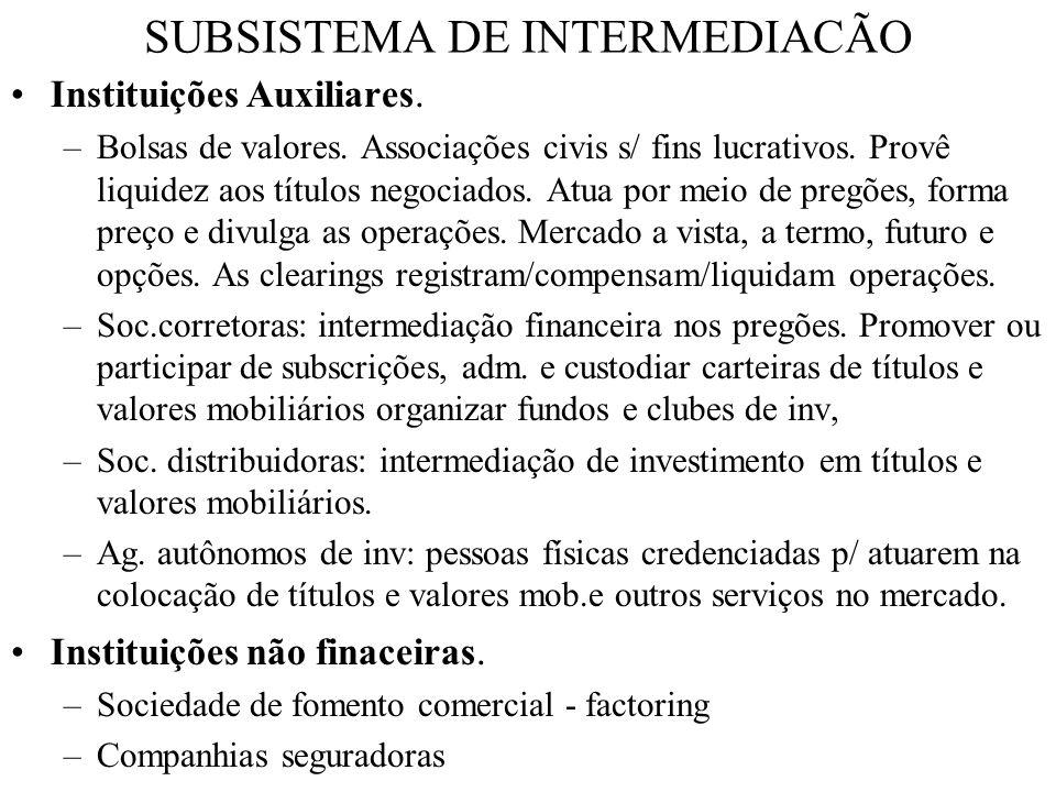 SUBSISTEMA DE INTERMEDIACÃO Instituições Auxiliares. –Bolsas de valores. Associações civis s/ fins lucrativos. Provê liquidez aos títulos negociados.