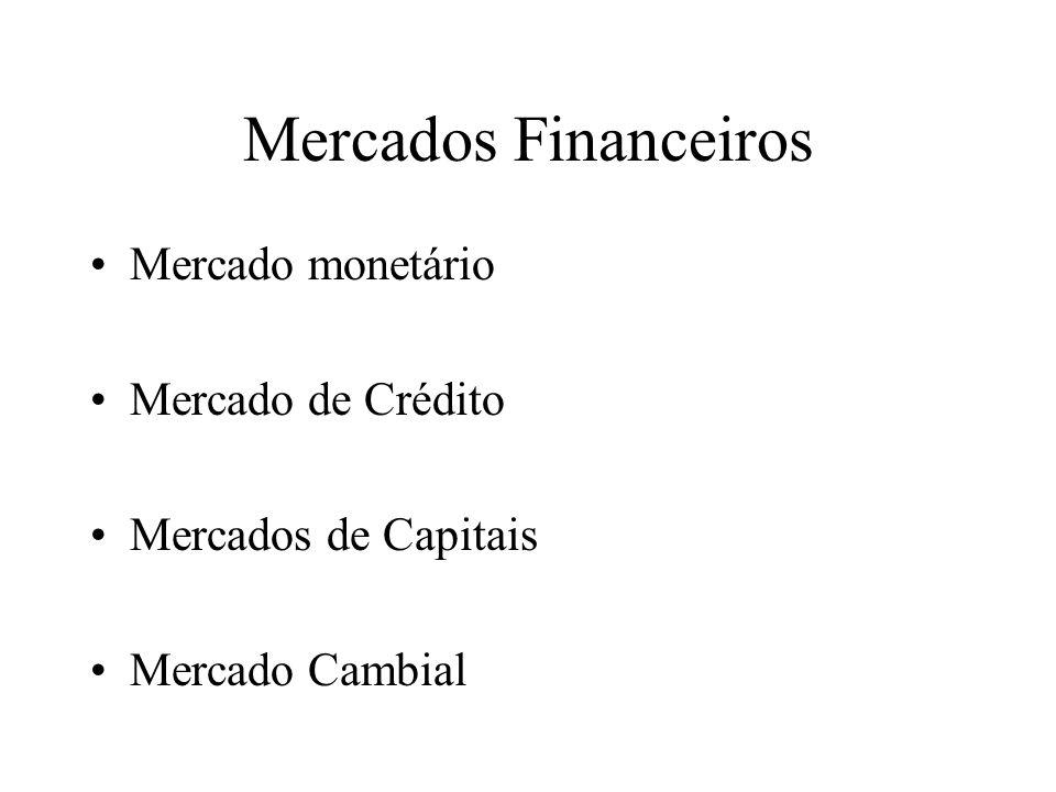 Mercados Financeiros Mercado monetário Mercado de Crédito Mercados de Capitais Mercado Cambial