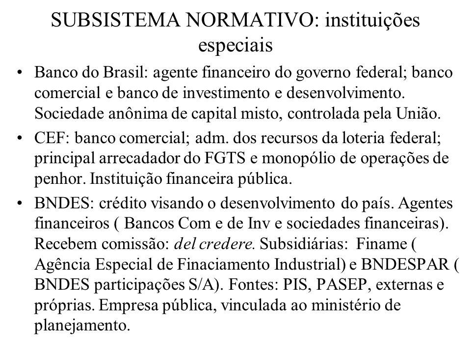 SUBSISTEMA NORMATIVO: instituições especiais Banco do Brasil: agente financeiro do governo federal; banco comercial e banco de investimento e desenvol