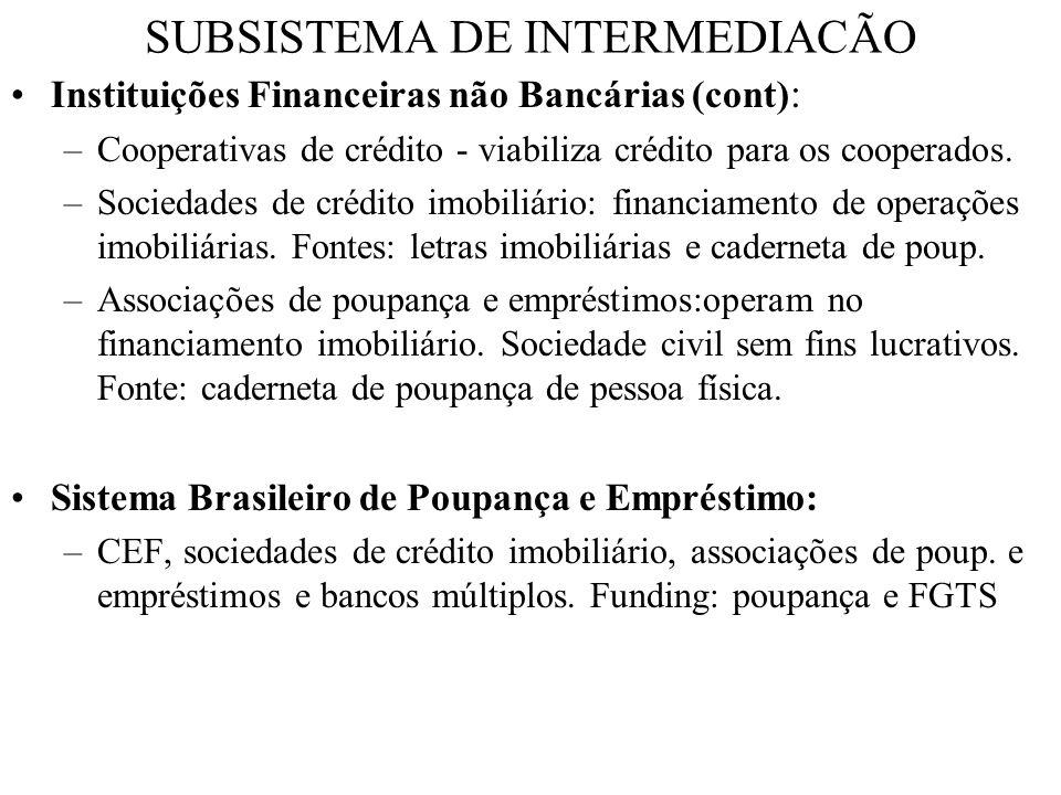 SUBSISTEMA DE INTERMEDIACÃO Instituições Financeiras não Bancárias (cont) : –Cooperativas de crédito - viabiliza crédito para os cooperados. –Sociedad