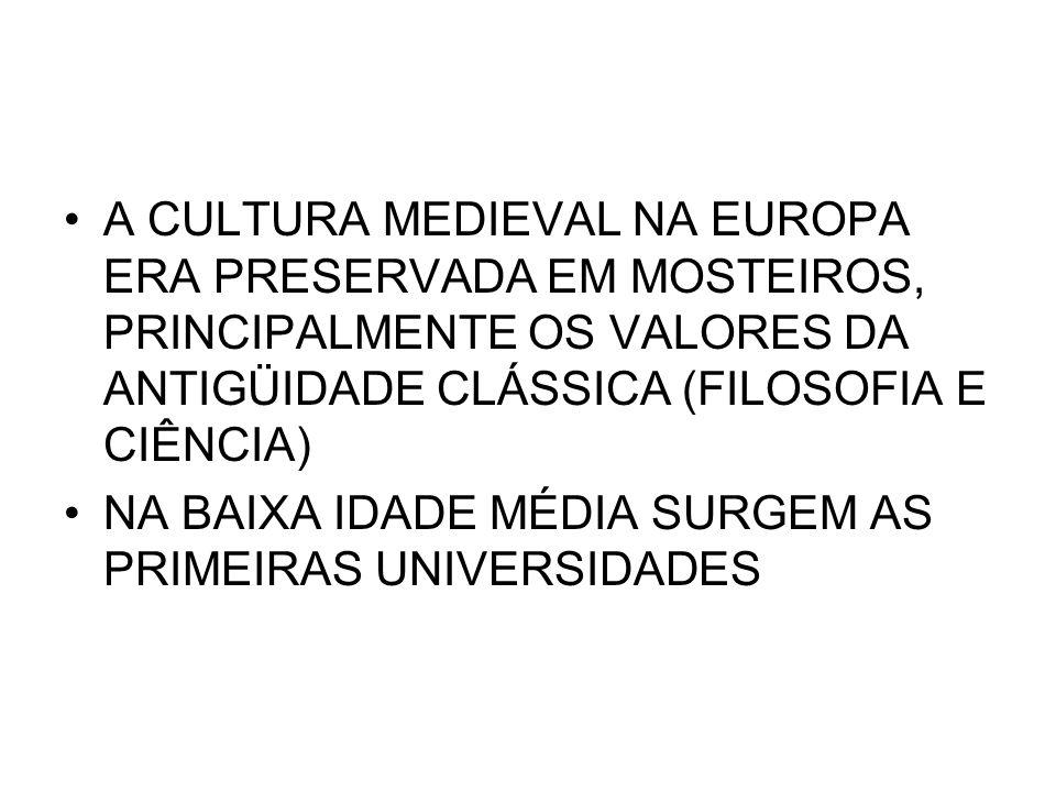 A CULTURA MEDIEVAL NA EUROPA ERA PRESERVADA EM MOSTEIROS, PRINCIPALMENTE OS VALORES DA ANTIGÜIDADE CLÁSSICA (FILOSOFIA E CIÊNCIA) NA BAIXA IDADE MÉDIA