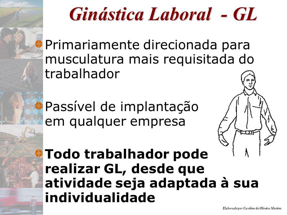 Elaborado por Caroline de Oliveira Martins Programa de GL - PGL GL carro-chefe PGL várias ações voltadas para melhorar qualidade de vida do trabalhador Ergonomia (adaptação do trabalho ao homem) consolidação do PGL