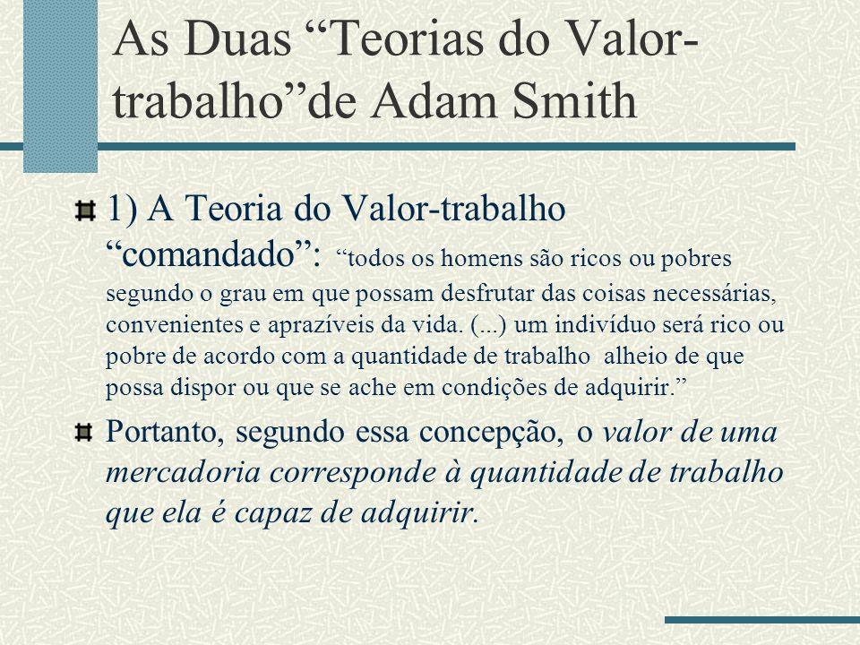 As Duas Teorias do Valor- trabalhode Adam Smith 1) A Teoria do Valor-trabalho comandado: todos os homens são ricos ou pobres segundo o grau em que pos