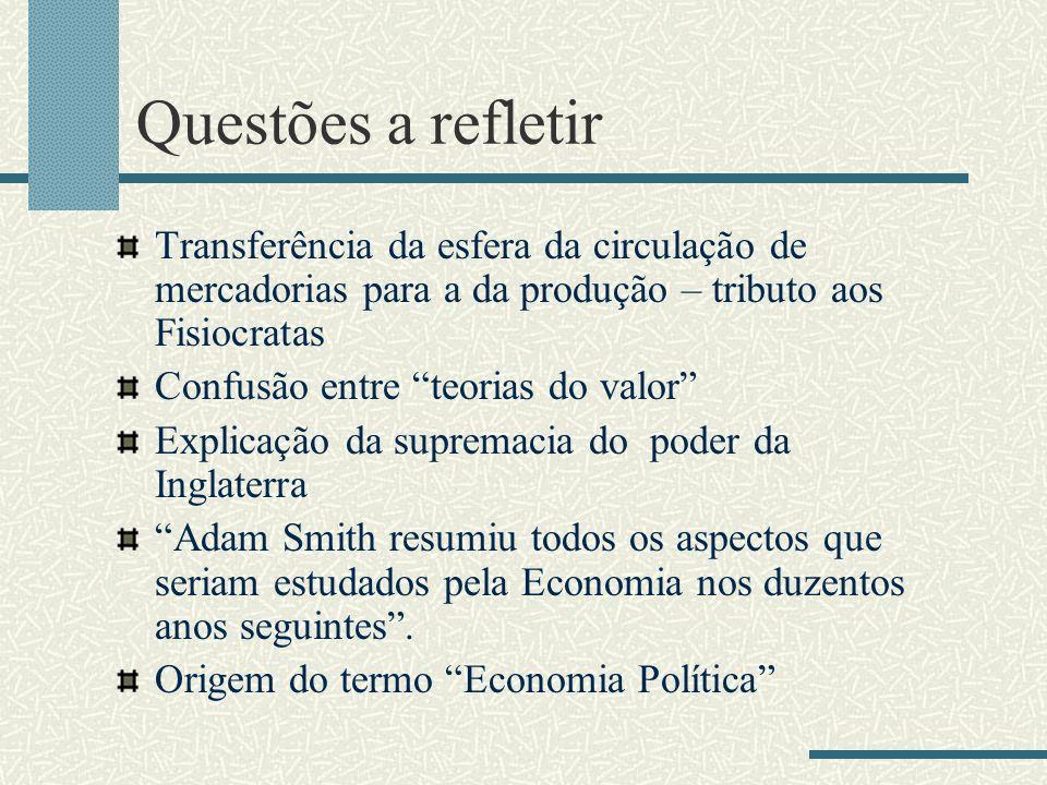 Questões a refletir Transferência da esfera da circulação de mercadorias para a da produção – tributo aos Fisiocratas Confusão entre teorias do valor