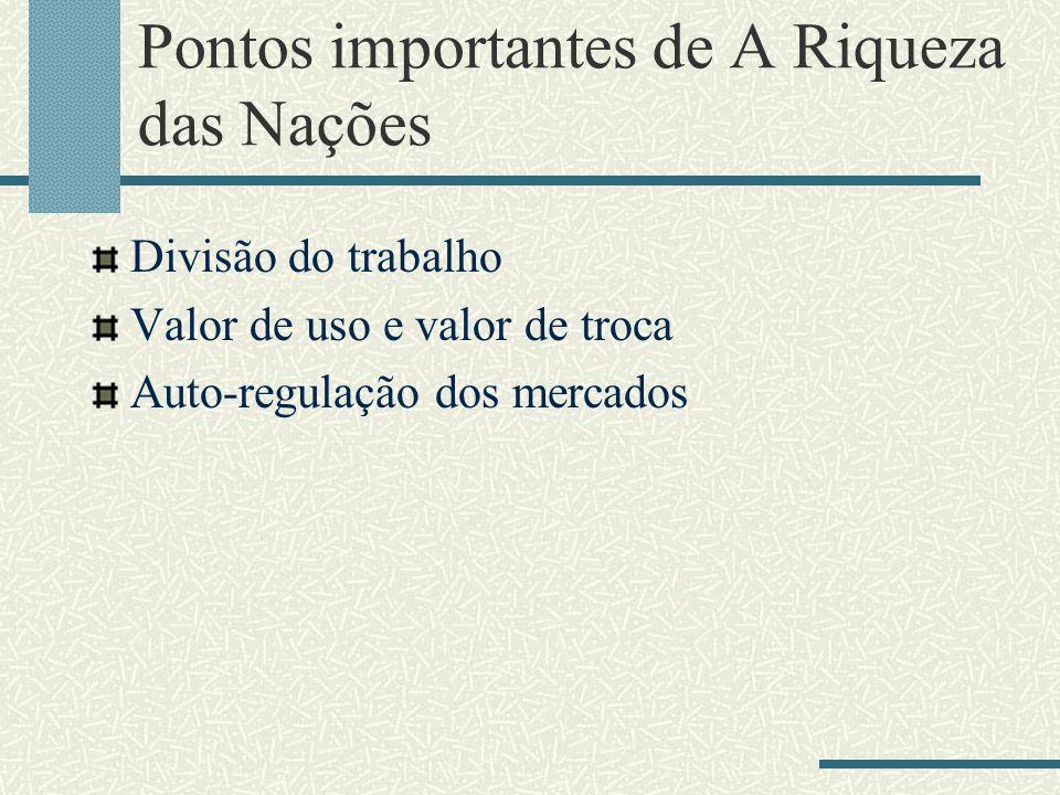 Pontos importantes de A Riqueza das Nações Divisão do trabalho Valor de uso e valor de troca Auto-regulação dos mercados